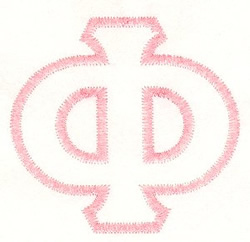 Greek PHI Applique embroidery design