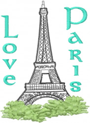 Love Paris embroidery design