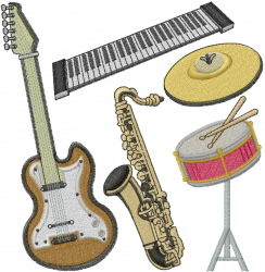 Music Instruments embroidery design