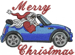 Santa in Mini Cooper embroidery design