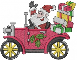 Santa in Antique Car embroidery design