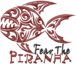 Fear The Piranha embroidery design