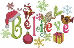 Believe in Christmas embroidery design