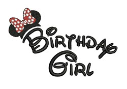 Minnie Birthday Girl embroidery design