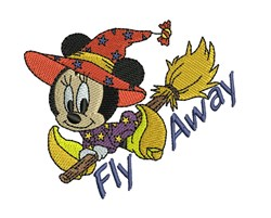 Miniie Mouse Fly Away embroidery design