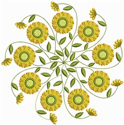 Yellow Swirl Floral embroidery design