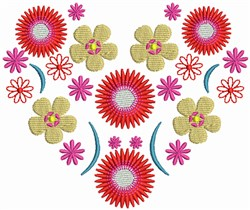 Red Flower Heart embroidery design