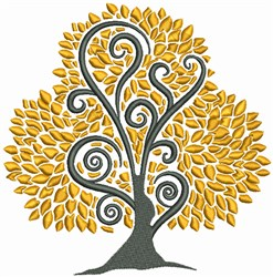 Yellow Tree embroidery design