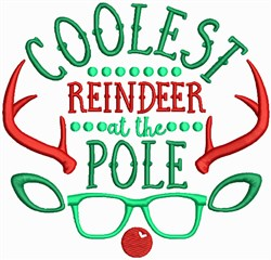 Coolest Reindeer at the Pole embroidery design