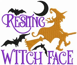 Resting Witch Face embroidery design