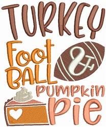Turkey Football and Pumpkin Pie embroidery design
