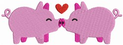 Kissing Farm Pigs embroidery design