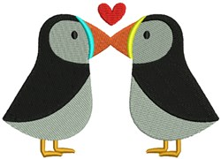 Kissing Penguins embroidery design