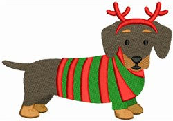 Christmas Dachshund embroidery design