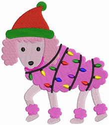 Christmas Poodle with festive lights embroidery design