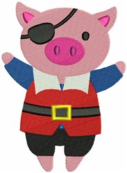 Pirate Pig embroidery design