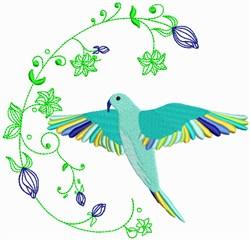 Blue Tropical Bird embroidery design