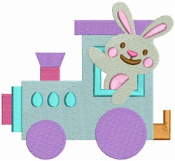 Happy Easter Train Engine embroidery design