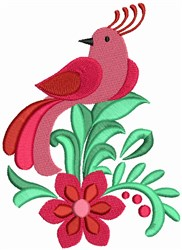 Red Bird with Flowers embroidery design