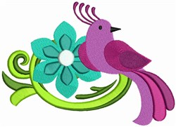 Colorful Bird and Flowers embroidery design