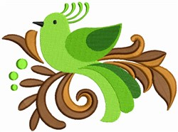 Green Bird With Leaves embroidery design