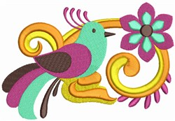Colorful Bird and Leaves embroidery design