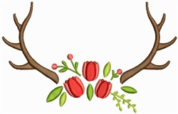 Antlers With Flowers embroidery design