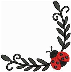 Corner Lady Bug embroidery design