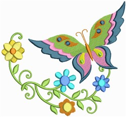 Floral Butterflies embroidery design