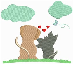 Dog And Cat Love embroidery design