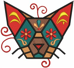 Geometric Cat Head embroidery design