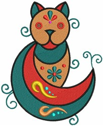 Geometric Pole Cat embroidery design