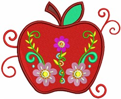 Apple with floral Decorations embroidery design