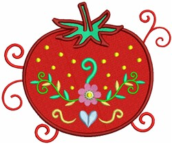 Tomato with Floral Decorations embroidery design