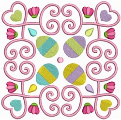 Easter Eggs Quilt Block embroidery design