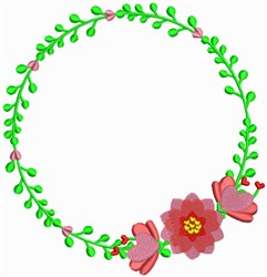 Valentine Floral Wreath embroidery design