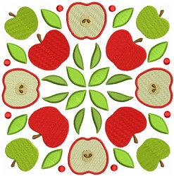 Fruit Quilt Block - Apples Squares embroidery design