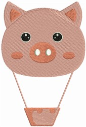 Pig Hot Air Balloon embroidery design