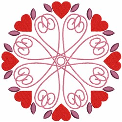 Floral Mandala with Red Hearts embroidery design