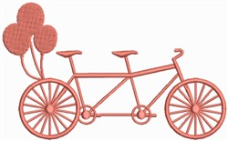 Tandem bicycle with Balloons embroidery design