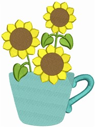 Sunflower Tea Cup embroidery design