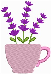 Flower Tea Cup - Lavender embroidery design