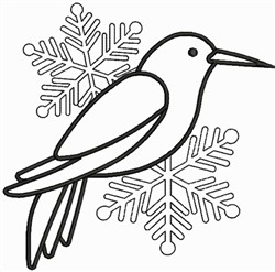Bird with Snowflakes embroidery design