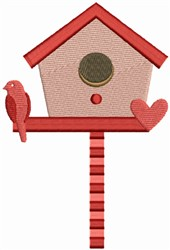 Bird House with Heart embroidery design