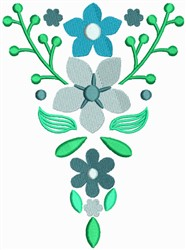 Blue Flower Bookmark embroidery design