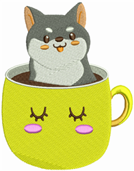 Shiba In A Cup embroidery design