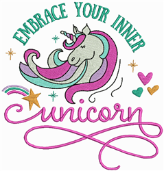 Embrace Inner Unicorn embroidery design