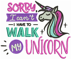 Walk My Unicorn embroidery design