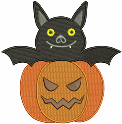 Pumpkin & Bat embroidery design