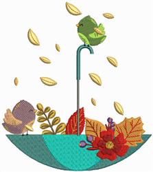 Fall Umbrella Birds embroidery design